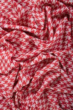 Tecido Alfaiataria Dior Estampa Doncella Pied de Coq Vermelha