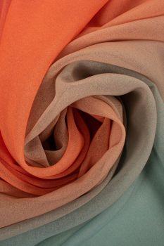 Tecido Crepe Georgete Estampa Doncella Tie Dye Laranja e Lilás