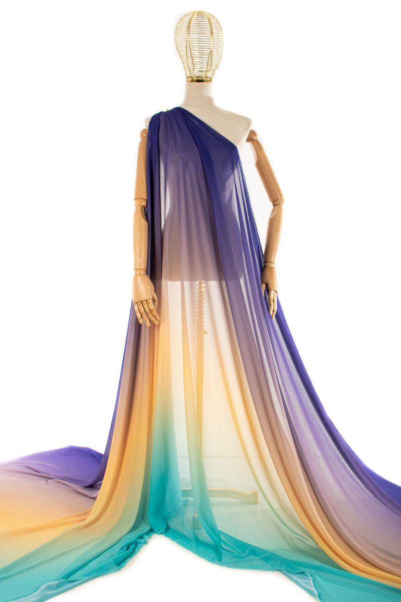 Tecido Crepe Georgete Doncella Estampa Tie Dye Tiffany e Roxo