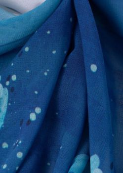 Tecido Crepe Georgete Estampa Doncella Floral Misto Azul