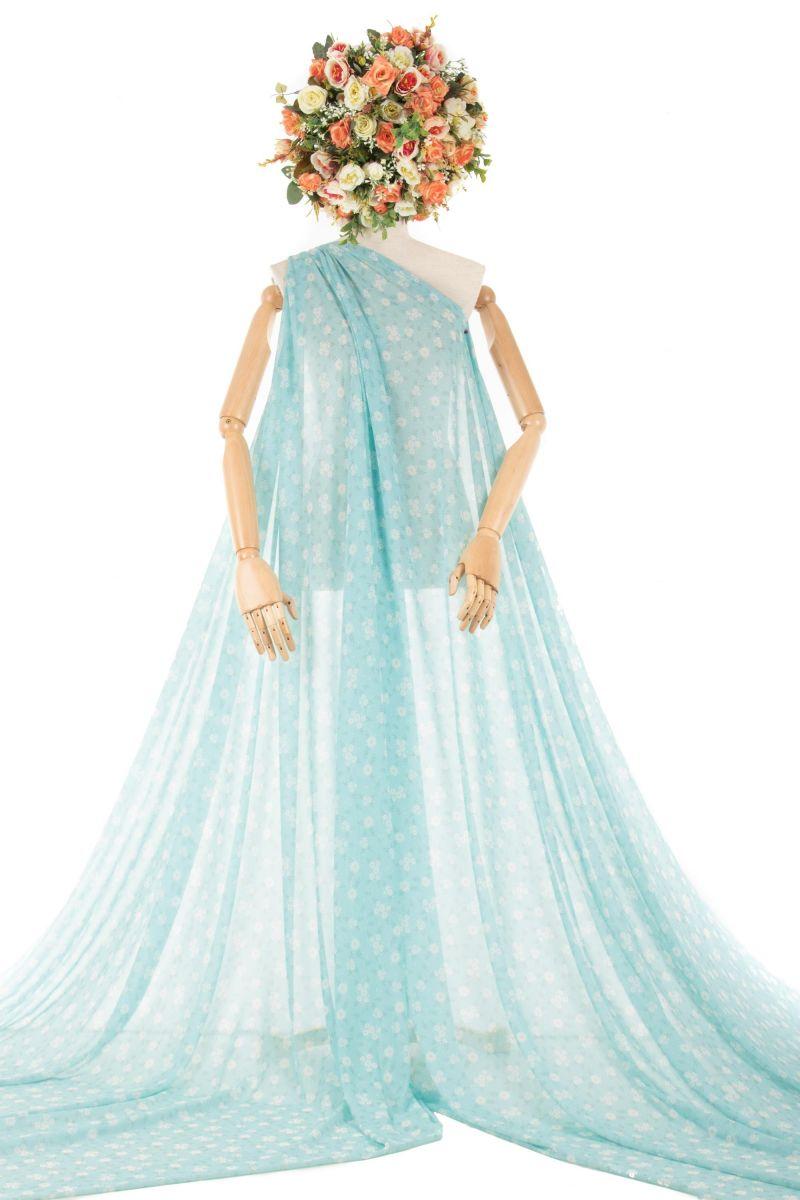 Tecido Crepe Georgete Estampa Doncella Liberty Azul Tiffany