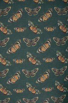 Tecido Crepe Georgete Estampa Doncella Mariposas Fundo Verde