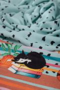 Tecido Viscose Estampa Doncella Barrada Cats Azul Tiffany