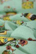 Tecido Viscose Estampa Doncella Floral Retrô Verde Neo Mint
