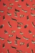 Tecido Viscose Estampa Doncella Gatinhos Vermelha