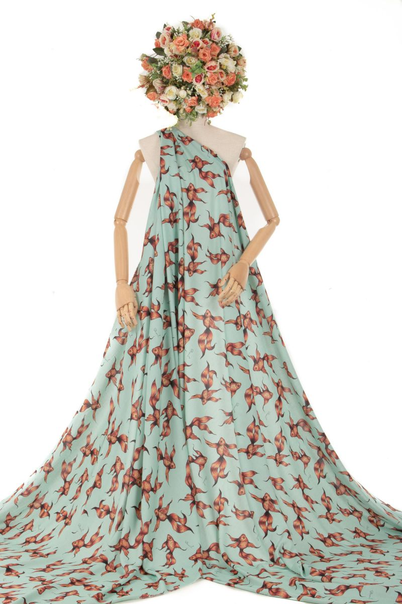 Tecido Viscose Estampa Doncella Peixinho Tiffany