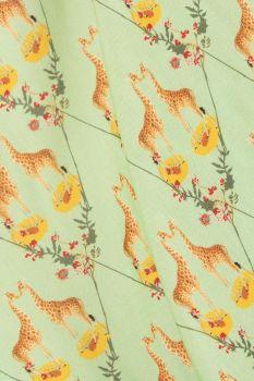 Tecido Viscose Neo Mint Escuro Estampa Doncella Girafas