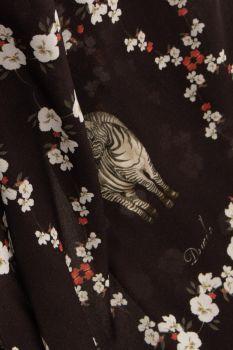 Tecido Viscose Preta Estampa Doncella Zebras Floridas